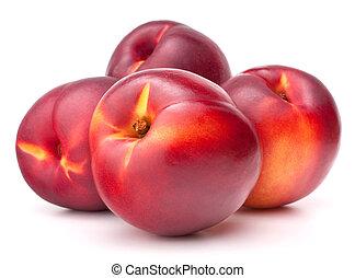 fruta, recorte, plano de fondo, aislado, nectarina, blanco