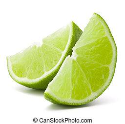 fruta, recorte, segmento, plano de fondo, aislado, fruta cítrica, cal, blanco
