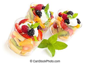 fruta, salad.