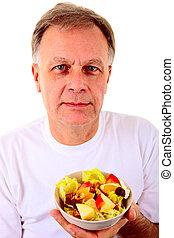 fruta, salat, homem