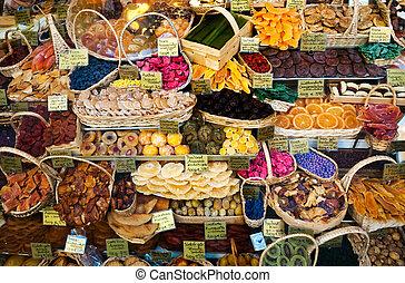 fruta, secado, tienda