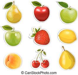 fruta, stickers., cobrança, vector.