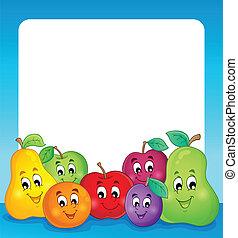 fruta, tema, marco, 1