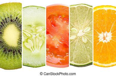 fruta, tropicais, cinco, cima fim
