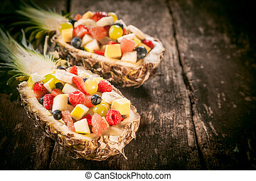fruta tropical, abacaxi, barcos, fresco, saladas