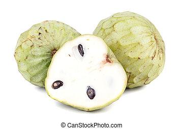 fruta tropical, manzana, natillas