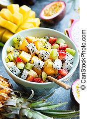 fruta tropical, tigela, salada, frutas