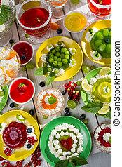 fruta, vário, geléia, creme