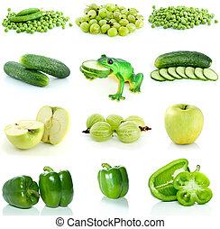fruta, vegetales, conjunto, verde, bayas