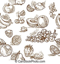 fruta verano, doodles, seamless, patrón