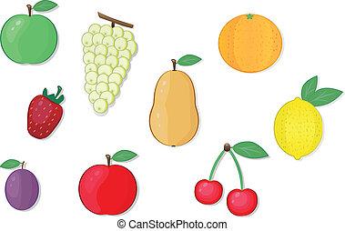 fruta, vetorial, ilustrações