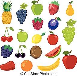 fruta, vetorial, jogo, ilustração