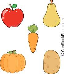 fruta, y, vegetable., colección