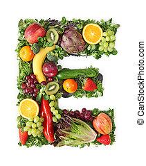 fruta, y, vegetal, alfabeto