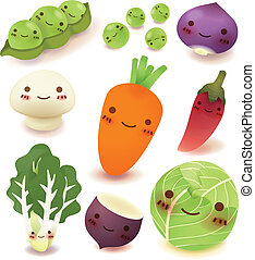 fruta, y, vegetal, colección