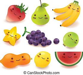 fruta, y, vegetal, colección, vect