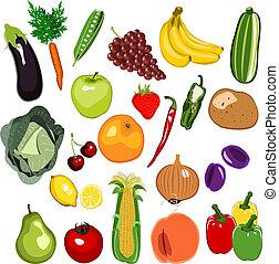 fruta, y, vegetal, conjunto