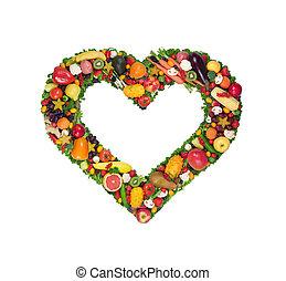 fruta, y, vegetal, corazón