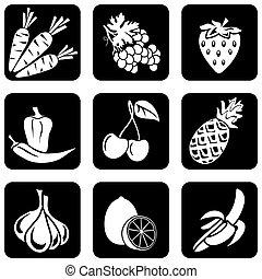 fruta, y, vegetales, iconos