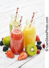 fruta, zalameros, en, retro, botellas