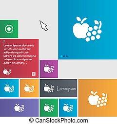frutas, ícones correia fotorreceptora, sinal., buttons., modernos, interface, site web, botões, com, cursor, pointer., vetorial