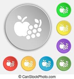 frutas, ícones correia fotorreceptora, sinal., símbolo, ligado, oito, apartamento, buttons., vetorial