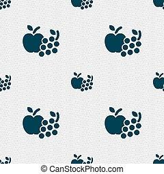 frutas, ícones correia fotorreceptora, sinal., seamless, padrão, com, geomã©´ricas, texture., vetorial