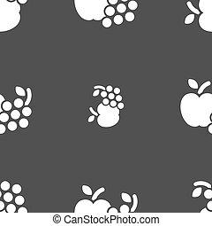 frutas, ícones correia fotorreceptora, sinal., seamless, padrão, ligado, um, cinzento, experiência., vetorial