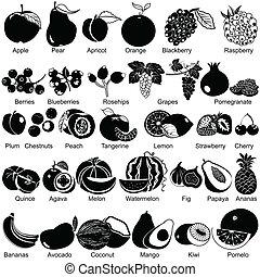 frutas, ícones