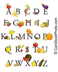 frutas, alfabeto, legumes
