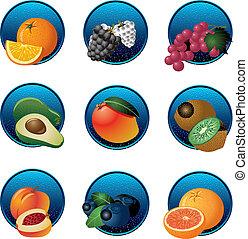 frutas, bayas, Conjunto, icono