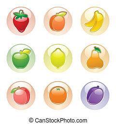 frutas, botão, cinzento, teia, 2.0, ícones