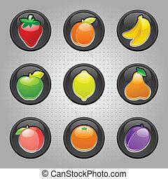 frutas, botão, pretas, teia, 2.0, ícones