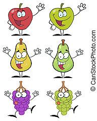 frutas, caricatura, caráteres