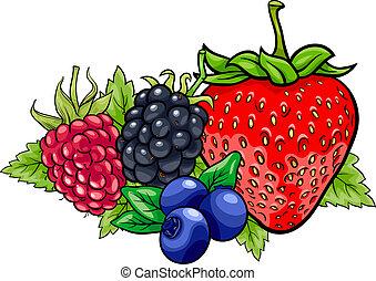 frutas, caricatura, ilustração, baga