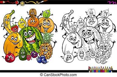 frutas, coloração, caricatura, página