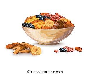 frutas, composição, secado