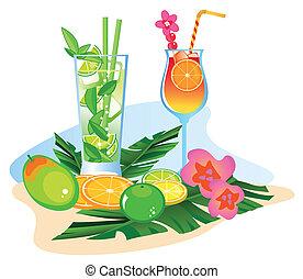 frutas, coquetéis