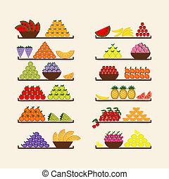 frutas, desenho, seu, prateleiras