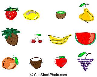frutas, diferente, frutas, tipos