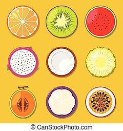 frutas, diferente, jogo