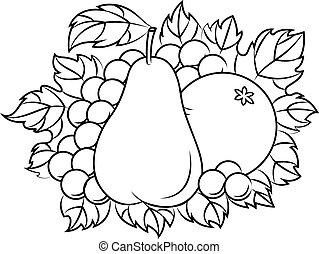 frutas, em, estilo retro