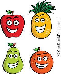 frutas, engraçado