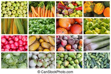 frutas, ervas, e, legumes