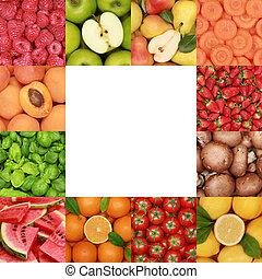 frutas, ervas, legumes, cobrança
