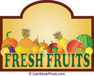 frutas frescas, levantar, ilustração, signage