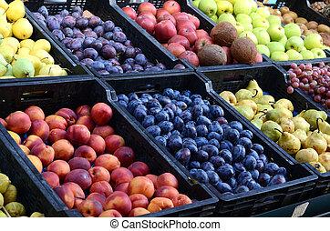frutas frescas, orgánico, mercado, granjeros