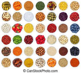 frutas legumes, bagas, temperos, ervas, de cima, isolado, branco