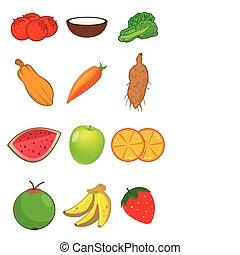 frutas legumes, em, vetorial