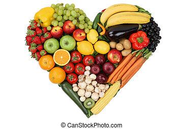frutas legumes, formando, coração, amor, topic, e, saudável,...
